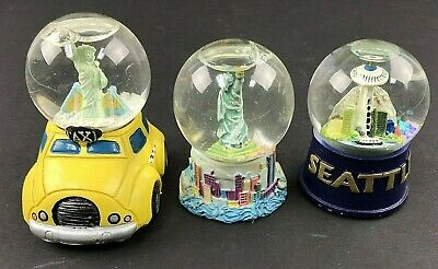 """Lot of 3 Mini 3"""" Snow Globes: NYC Taxi, NYC Statue of Liberty & Seattle"""