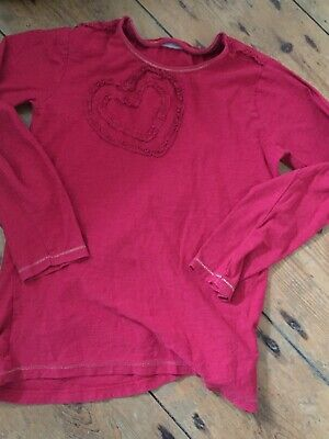 Girls Red Long Sleeved Top With Heart Age 10-11 Years