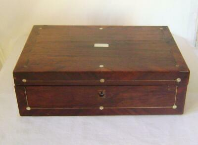 Antique Victorian Rosewood Writing Slope Box with Crossbanded Borders A/F