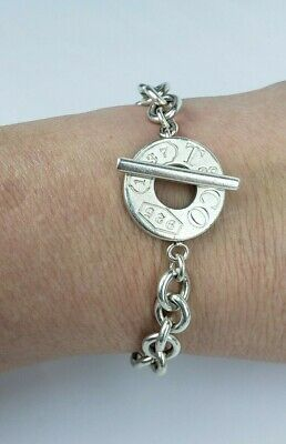 """Authentic Tiffany & Co Sterling Silver 1837 Toggle Chain 7.0"""" Bracelet"""