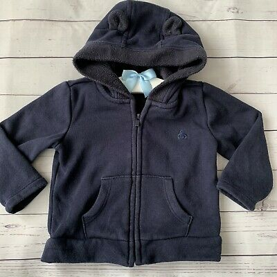 Baby Boys 6-12 Months - Hoodie - GAP Navy Blue Fleece Lined Soft Jumper Hood