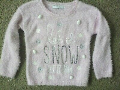 George Light Pink Fluffy Pink Silver Sequined Christmas Jumper Top 3-4 y 104 cm