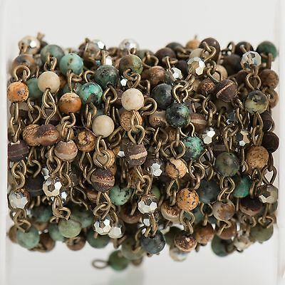 3ft Matte Green AFRICAN TURQUOISE Gemstone Rosary Chain gold 4mm round fch0763a