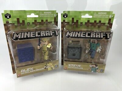 Minecraft Series 4 Action Figure Toy Alex Golden Armour Steve With Arrows Boxed