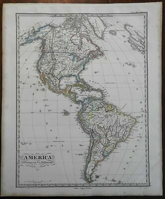North America South America Caribbean Patagonia Greenland 1867 Stieler map