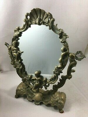 French Antique Gilt Bronze Vanity Mirror Rococo Louis XV Style with angel psyche