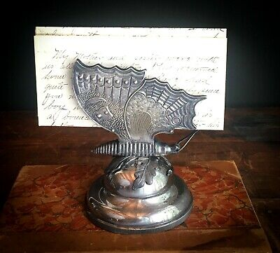 Antique Victorian Rogers Smith Silverplate Figural Butterfly Card Letter Holder