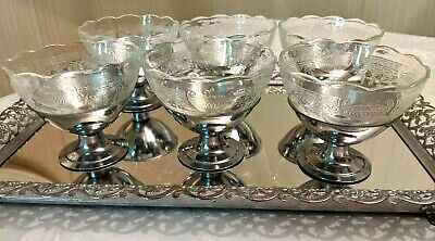 Set of 6 Clear Depression Glass Dessert Cups w/Scalloped Rims & Chrome Bases
