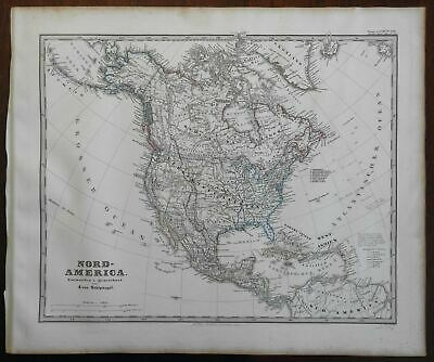 North America Canada United States Mexico Russian America Cuba 1867 Stieler map