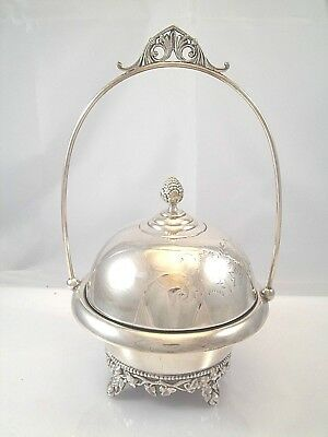 Victorian Silverplate Chased Butter Dish With Tall Frame 3 Pieces