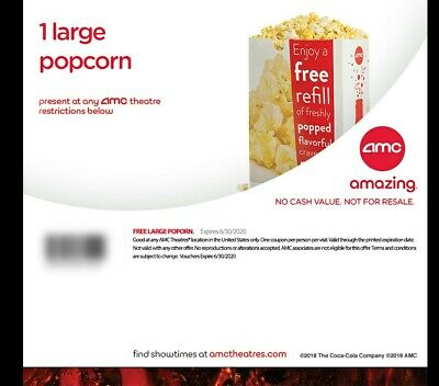 AMC 1 Large Popcorn - expires 6/30/20 - E -Delivery