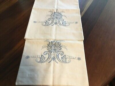 Vintage Embroidered White Cotton Pillowcases