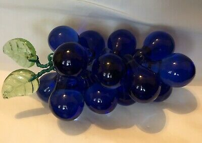 *Murano Cobalt Blue Art Glass Grapes Cluster Hand Blown Italian Home MCM Vintage