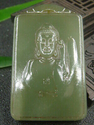 Chinese Antique Celadon Nephrite Hetian-Jade Hollow GUAN YIN statues/Pendant 633