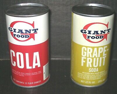 2 Giant Food Steel Soda Pop Cans Mistake Cans w Opening On Bottom Concordville