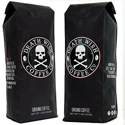 Death Wish Coffee Co lot of 2 Bags Worlds Strongest Coffee 2 Pounds Ground