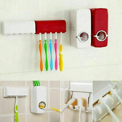 Toothpaste Dispenser With 5 Toothbrush Holder Automatic Wall Mount Stand Set