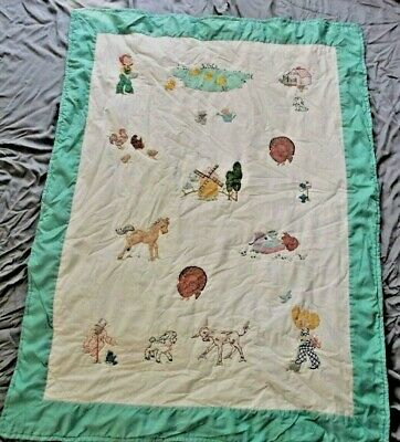 """Farm Pet Animals Chickens Cats Horses Baby Crib Throw Blanket Quilt 38"""" x 49"""""""