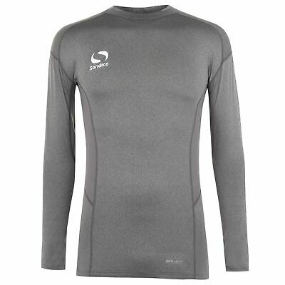 Sondico Mock Neck Baselayer Shirt Mens Grey Marl Football Soccer Compression Top