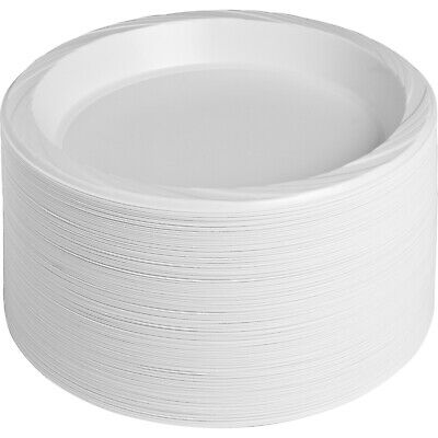 """10.25"""" Round White Reusable and Disposable Large Plastic Plates 125-pack"""
