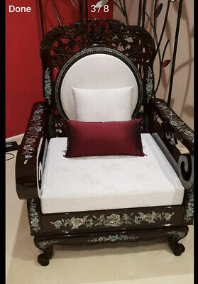 Rosewood Waiting Arm Chairs, Western Pacific Mother Of Pearl