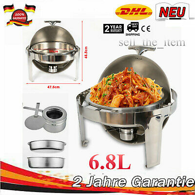 Round Food Warmer Chafing Dish Warmer Stainless Steel 6.8 L with Roll Lid