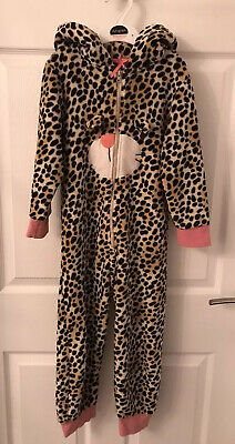 Girls Brown/Pink Mix Next Animal Print Fleece One Piece/Nightwear - Age 5-6yrs