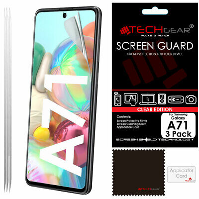 3 Pack of TECHGEAR CLEAR Screen Protector Covers For Samsung Galaxy A71