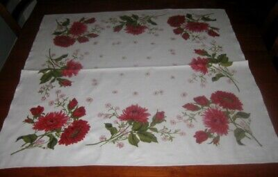 Vintage Supper Cloth ~ Large Red Flowers ~ Cotton ~ Square