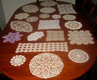 20 Vintage Crocheted & Lace Doilies~Cotton~Shades Of White/Cream/Beige/Purple