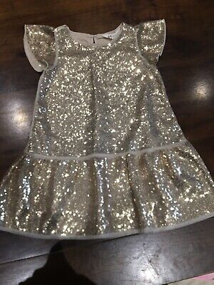 H&M Baby Toddler Girls Sequin Sparkly Party Dress Gold Sequins Age 1.5-2 Years