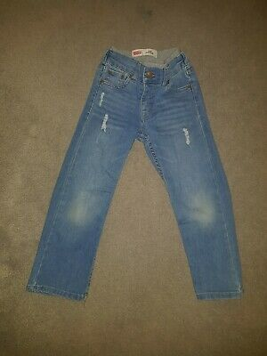 Boys Levis Mid blue straight leg 414 distressed Denim jeans Age 3_4 Years