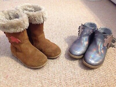 Two used pairs of girls boots size 8, brown walkmates/ silver metallic george