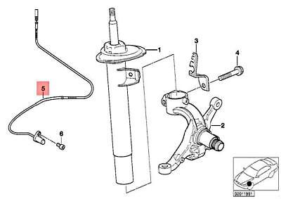 For BMW Genuine ABS Wheel Speed Sensor Front Right 34526792896
