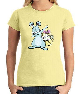 Cute Dabbing Bunny JUNIOR'S T-shirt Egg basket Easter Dab GIRL'S Tee - 1959C