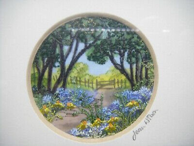 """Vintage Miniature 2""""/5cm Embroidery Garden Scenery Intricate Mixed Media Work"""
