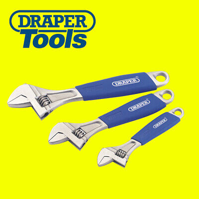 """Draper 70384  6"""", 8"""", 10"""" Adjustable 3 Piece Metric Marked Wrench Spanners Set"""