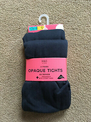 BNIP M&S 2 Pack Girls Navy Blue 60 Denier Opaque Tights Freshfeet 6-7 Years