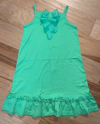 Hanna Andersson Girls Light Green Dress Size 6-7Y Excellent Cond Ld5