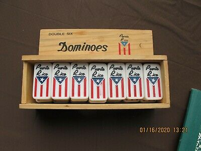 Double Six Dominos Puerto Rico Design in Wooden Slide Top Box