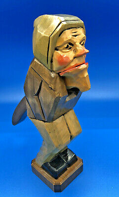 "Georg Heisswolf Rothenburg Wooden carved Gnome Mouth Opens & Closes 9 1/2"" tall"