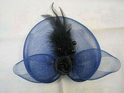 Fascinator Navy blue Bridal Wedding mesh ribbon flower feather beads  clip  pin