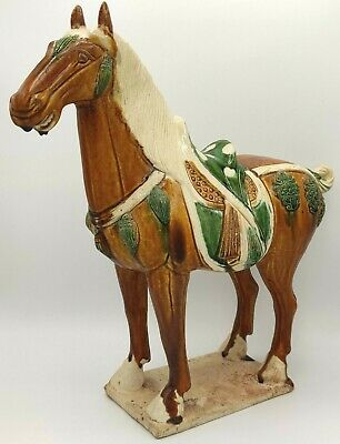 "Vintage Reproduction Tang Dynasty Horse Figurine Over 14"" Fair Condition"