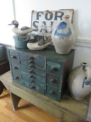 Antique 13 Drawer Chest, Hand Cut Dovetails, Sq Nail, Old Green Paint, Aafa