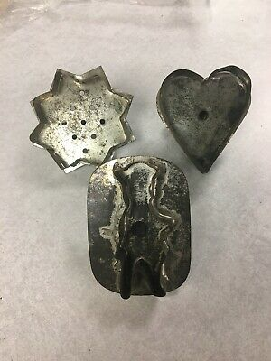 Antique Metal Cookie Cutters Heart Star Figure