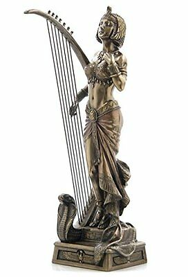"10.75"" Egyptian Cleopatra w/ Harp Egypt Home Decor Statue Figure Sculpture"