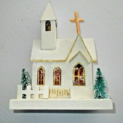 Vintage LARGE Mica Putz Christmas Cardboard Church--bell and cross
