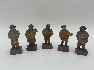 Vintage ANRI Italy Hand Carved MINIATURE MUSICIANS Lot of 5 Wood Figures