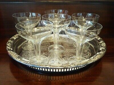 6 Vintage Art Deco Style Hollow Stem Champagne Glasses