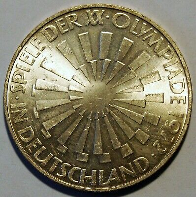 "1972 'D' - Germany - Olympics 10 Mark Silver coin - ""In Deutschland"" Nice Grade"